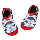 TIZAX Zapatos Verano de Agua para bebés Zapatos Escarpines Antideslizantes para niños Calcetines Descalzo de Secado rápido para Playa Piscina natación Tiburón Rojo 18/19