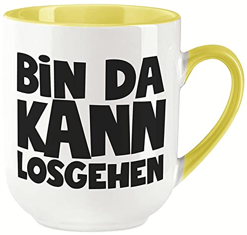 vanVerden Taza curvada con texto 'Bin da kann losgehen - Impresión por ambos lados, ideal para máquinas de cápsulas - regalo, color blanco y amarillo
