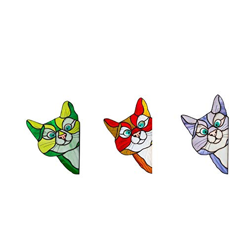 Stained Cat Dog Stickers, Stained Glass Window Sticker | Peeking Cat Reusable Window Hangings | Personality Pet Stickers for Car, Living Room, Bedroom, Wall Decoration