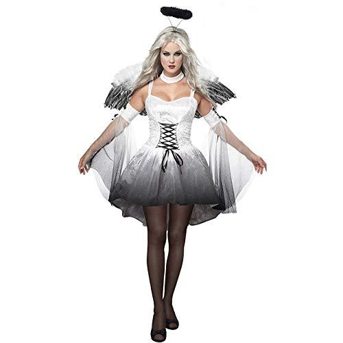 MENGZHEN Womens Halloween Party Engel rok Cosplay, Steampunk Victoriaanse Gotische Kant Swing Jurk Vrouwen Maxi Jurk, Lolita Gothic Set, XL, Kleur: wit