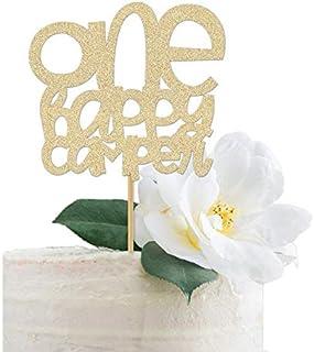 DKISEE Tarjeta de purpurina con texto en inglés «One Happy Camper» para primer cumpleaños, fiesta de cumpleaños, 15 cm
