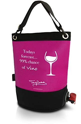 Weintasche und Getränkespender – Weintüte 3L für das Bag-In-Box – Einfach zu Handhabende Inner Tasche – Perfekt Egal ob Drinnen oder Draußen und Für Jedes Getränk: Wein, Sangria und Saft (Rosa)