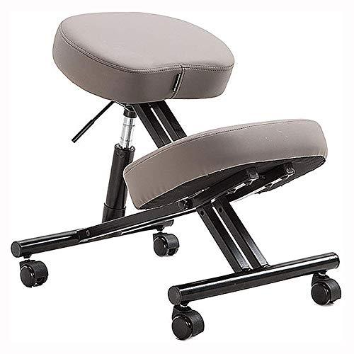AFTIU Professioneller Kniestuhl Ergonomischer, Verstellbarer Büro Kneeling Chair mit Bequemen Kissen Entwickelt um Rückenschmerzen zu lindern und die Körperhaltung zu verbessern,Grau