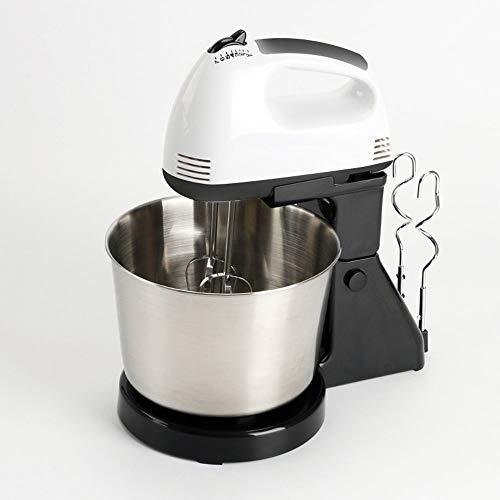 Robot De Cocina 100W Batidora Eléctrica 2IN1 Mezcla, Amasadora, Mezclador De Alimentos Profesional Para Hornear Con Recipiente De 7 Velocidades Y 1,7 L Para Pasteles, Masa, Pan, Postres Y Más,Blanco