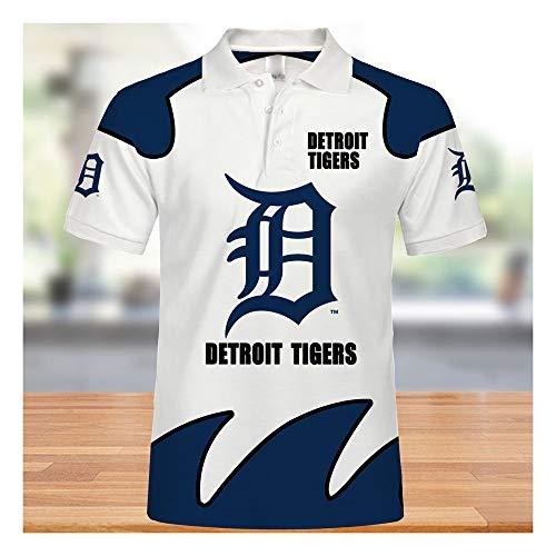 GMRZ MLB Polo-Shirts, Jersey mit Detroit Tigers Logo Design Major League Baseball Team Sweatshirts Fans Trikots Sommer Kurzarm T-Shirts für Männer und Frauen, XXXXXL
