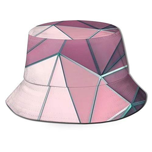 GAHAHA Fischerhüte für Herren, rosa Geometrie-Anglerkappe, Bootfahren, tragbar, Sonnenschutz, UV-Schutz, Jungen, faltbar, Sommerhut