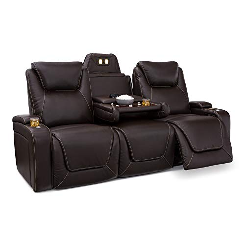Seatcraft Colosseum Big & Tall Home Theater Seating - Top Grain Leather - Power Recline - Powered Headrests and Lumbar - USB Wireless Charging - Cup Holders - 400 lbs Capacity (Sofa with Fold Down Table, Brown)