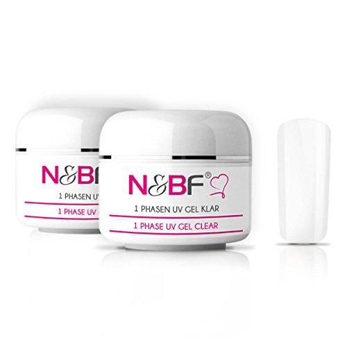 N&BF 1-Phasen UV Gel klar/durchsichtig 100ml | 3in1 Gel transparent | Made in EU | Allrounder Gel für Nägel | All in One Gel ohne Säure + selbstglättend | Einphasen Gel UV Nagelgel