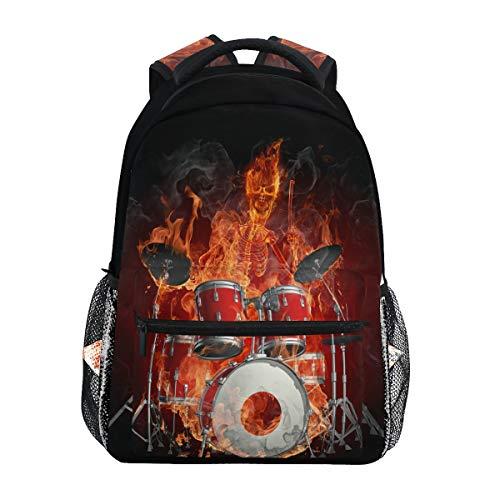 Drummer Serie Fiery Rucksack, wasserdicht, Schul-Umhängetasche, Fitness-Rucksack, orange-schwarz, Instrumente, Laptop-Tasche, Outdoor-Reisetasche für Kinder, Jungen, Mädchen, Frauen, Männer