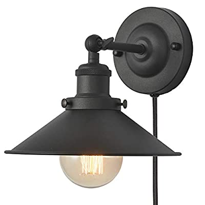 XIDING Wall Light Fixture, Black Industrial Plug in Wall Sconces Lamp, Classic Retro Wall Lamp