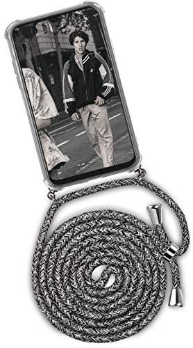 ONEFLOW Handykette kompatibel mit Samsung Galaxy A50 / A30s - Handyhülle mit Band zum Umhängen Hülle Abnehmbar Smartphone Necklace - Hülle mit Kette, Schwarz Grau Weiß
