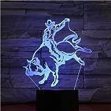 Elemento de moda decoración del hogar luz de noche LED España sensor táctil lámpara matador 3d regalo de fiesta de cumpleaños único amante de los niños