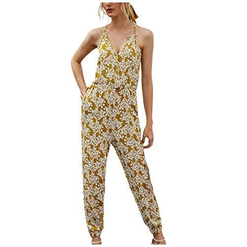 Great Price! ANJUNIE Women Loose Sleeveless Print Overall Jumpsuit V-Neck Rompers Pocket High Waist ...