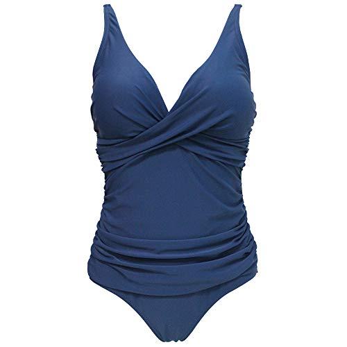 Viloree Damen Monokini Bauchweg Schlankheits Badeanzug Plus Size Badebekleidung Bauchweg für Mollige Navy XL