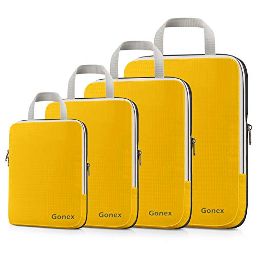 Gonex Compression Packing Cubes, 4pcs Expandable Storage Travel Luggage Bags Organizers (Apricot)