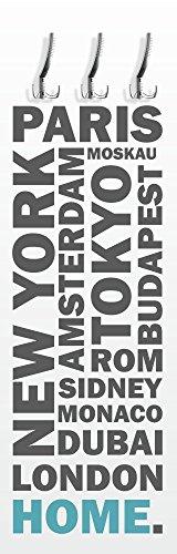 wandmotiv24 Garderobe mit Design Home türkis G467 40x125cm Wandgarderobe Reisen Urlaub Welt