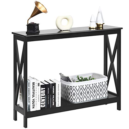 COSTWAY 2-Tiers Console Side Table, X-Shaped PC Computer Writing Desk with Shelf, Living Room Entryway Hallway Narrow End Sofa Tables (Black)