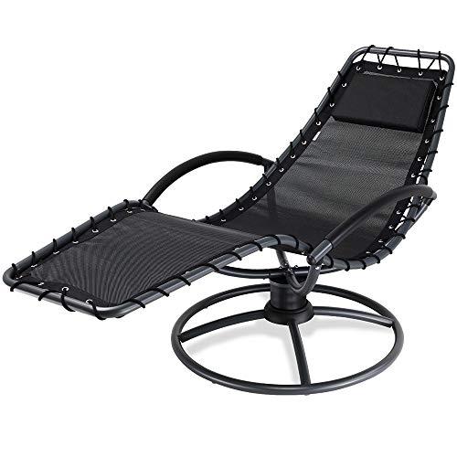 Chaise Longue de Jardin Relax Eve Anthracite Fonction Bascule Acier laqué pivotable 360° Coussin Chaise Fauteuil de Jardin à Bascule Relaxation