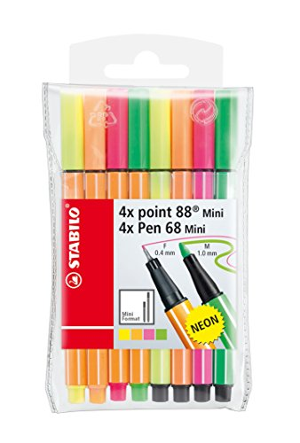 Fineliner & Pennarello - STABILO point 88 Mini + Pen 68 Mini - Astuccio da 8 - Colori NEON assortiti