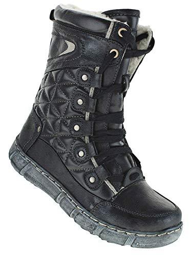 Bootsland Winterstiefel Stiefel Winterschuhe Damenstiefel Damen 050, Schuhgröße:39, Farbe:Schwarz/Grau