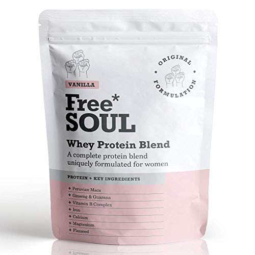 Free Soul Whey Protein Powder | Formulated for Women | 600g | 20g Protein | Added Nutrients | Gluten & Soy Free Nutrition Protein Shake | Supports Hormone Balance, Mood, and Energy (Vanilla)