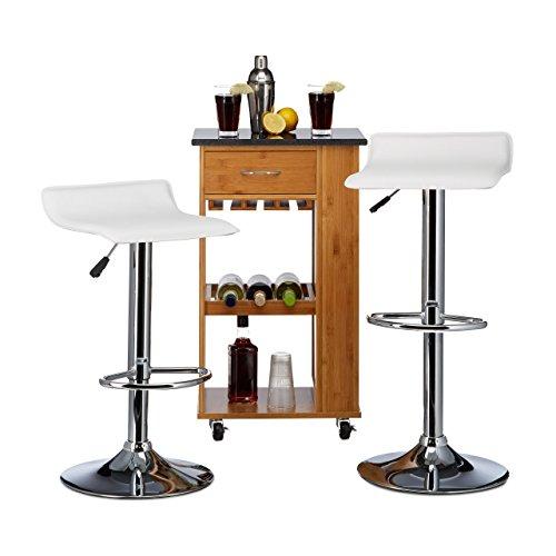 Relaxdays 10020890_49 Sgabelli da Bar Design DIZZY Senza Schienale, Regolabili Set da 2 HxLxP: 76 x 37 x 37 cm, Sedia da Bancone Bianco