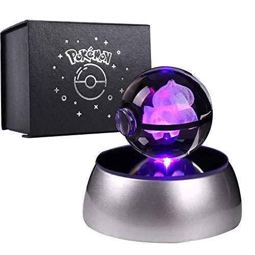 Herefun 3D Bola de Cristal Luz Nocturna Lampara Pokemon Series Laser Engraving Regalo de Navidad Para Ninos 50mm Ball Base de Decoloracion Automatica - Bulbasaur