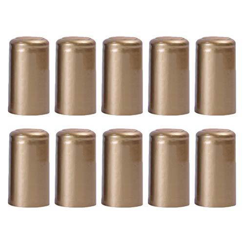 Hemoton 100 Stück Schrumpfkapseln Weinflaschen Kapseln Wein Schrumpffolie geeignet für Weinflaschen schwarz 3 * 3 * 6cm gold