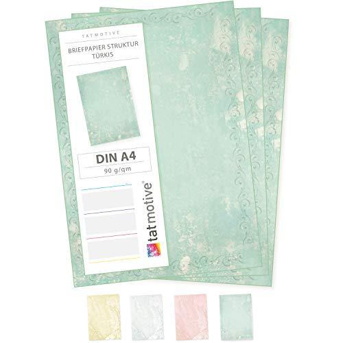 Briefpapier Türkis Grün marmoriert (50 Blatt) Vintage-Retro Beidseitig DIN A4 297 x 210 mm 90 g/qm