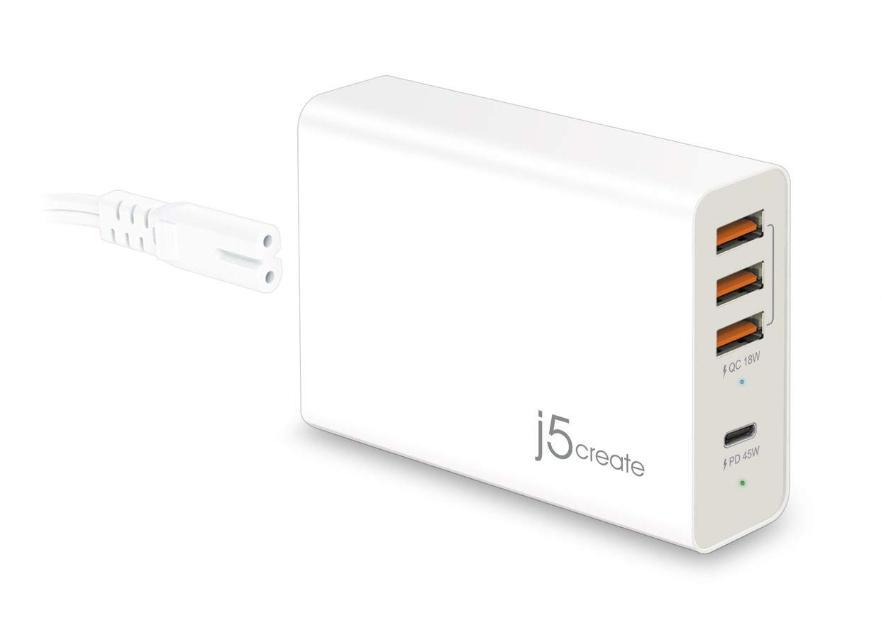 j5create JUP4263 4-Port PD Super Charger Station with USB-C and USB-A, 63W