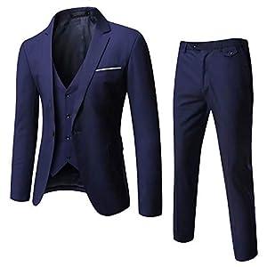 GOMY メンズスーツ スリーピース セットアップスーツ 全シーズン 紺 一つボタン 結婚式/ビジネス/カジュアル/オシャレ 大きいサイズ スリム 抗シワ 洗える セットアップ