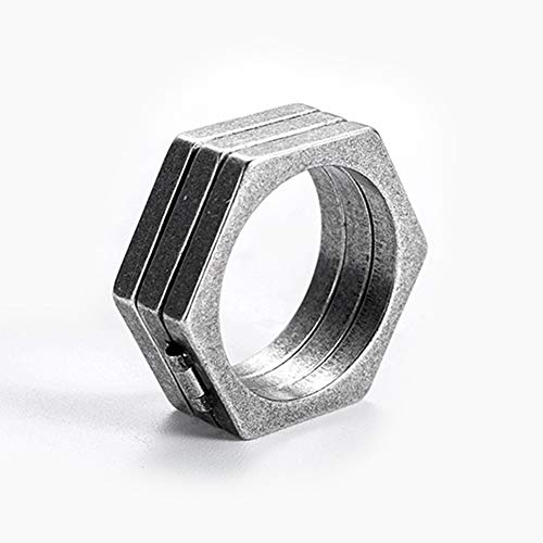 YABEME Stainless Steel Punk Ring, Men Vintage Hexagonal Folding Finger Jewelry, Gothic Cool Rock Biker Gift Sizes 7 9,7
