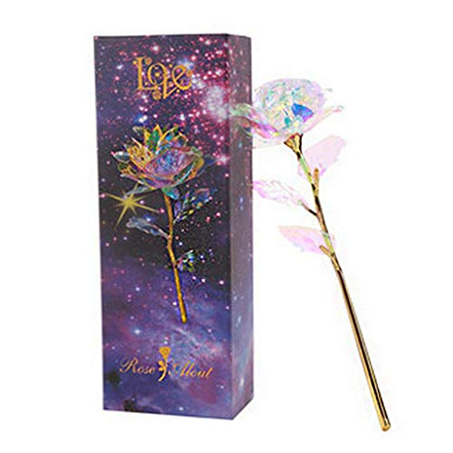 jieGorge 24K Gold Foil Roses Glowing Gold Set Creative Love, Home Decor, for Christmas Day (A)
