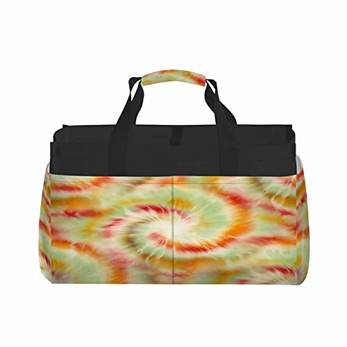HOSNYE Spiral Tie Dye Pattern Tote Bag Funky Psychedelic Pastel Swirl Artistic Vibrant and Creased Ink Dye Basket
