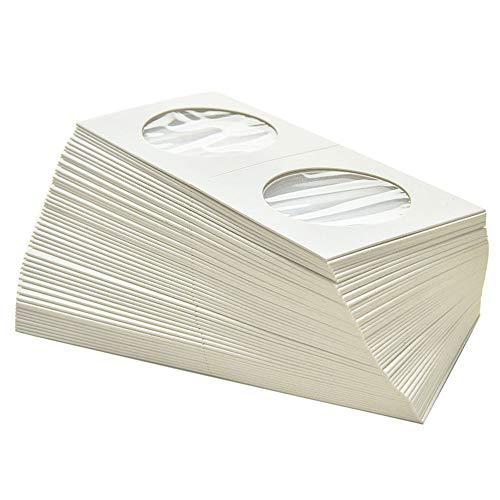 byou Cardboard Coin Holder,Karton Münzhalter 100 stück 50 * 50mm Flip Mega Sortiment für Münz Kollektion Supplies zum Münze Sammlung Lager Schutz 2 größe 25mm 31.5mm