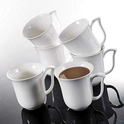 MALACASA, Serie Amparo, 6 piezas 11.5 oz Tazas de Café de Porcelana 4.75' 340ml