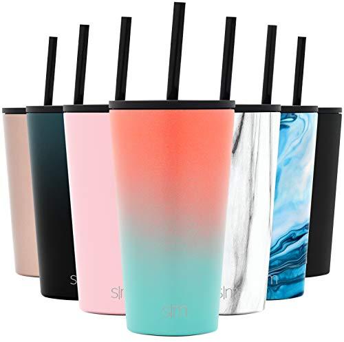 Simple Modern 470mL Classic Thermobecher mit Stroh und Klappdeckel - Kaffeebecher to go Thermoskanne Trinkflasche Edelstahl vakuumisoliert Tasse für Kaffee oder Bier Thermosflasche Havanna