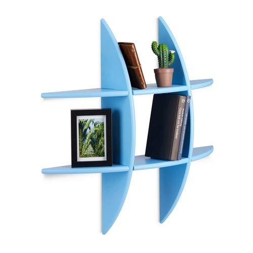 Relaxdays Ronde wandrek met 6 vakken, 17cm diep, hangrek, decoratie, CD-rek, zwevende plank, blauw