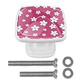 Perillas y manijas del gabinete Flor rosa Perillas de gabinetes de cocina Bling Dresser Drawer Knobs for Girls Set de 4 3x2.1x2 cm