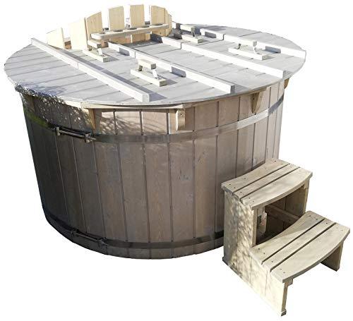 Hot Tub mit Heizung Badezuber Whirlpool Pool 180cm NEU Badefass Edelstahl Ofen auf Lager
