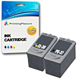 2 Cartuchos de Tinta compatibles para Canon Pixma iP1800, iP1900, iP2500, iP2600, MP140, MP190, MP210, MP220, MP470, MX300, MX310 | Reemplazo para PG-37 (PG37), CL-38 (CL38)