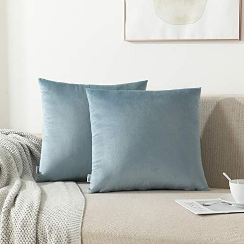 NordECO HOME Pack of 2 Throw Pillow Covers Cases - Square Decorative Cushion Covers for Sofa Couch Bed Home Decoration, 16 x 16, Light Blue