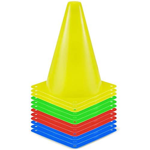 SKL Markierungskegel 12 Stück Durabile Markierkegel Fußball Trainingshilfen Multifunktionskegel (4 Farben (gelb, grün, rot, blau), 18CM)