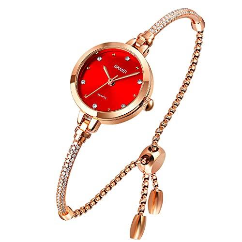 Tonnier Uhren Damen Analog Quarz Uhr Mosaik mit Diamanten Armband Kleid Uhr für Frauen Wasserdicht Armbanduhr mit Rosegold Armband rot
