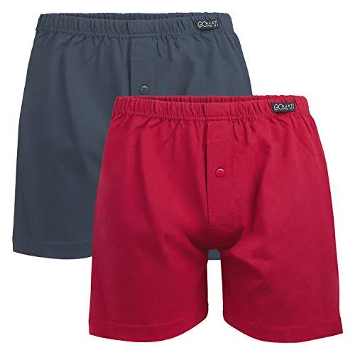 Gomati Herren Jersey Boxershorts (2 Stück) Stretch Unterhose aus Baumwolle - Anthra-Rot L
