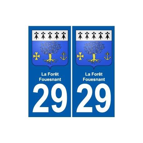 29 La Forêt-Fouesnant blason autocollant plaque stickers ville - Angles : droits