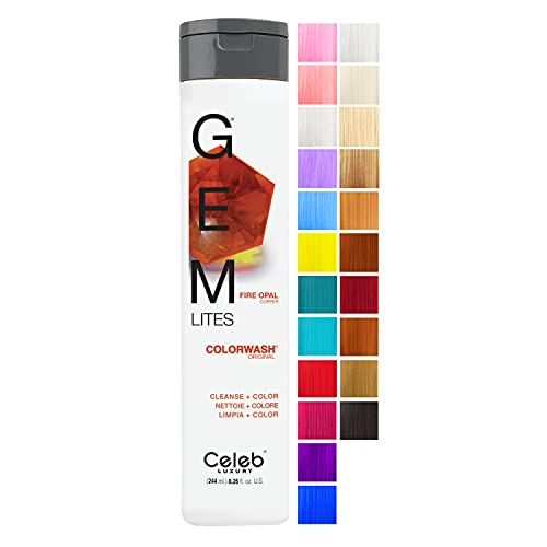 Celeb Luxury Gem Lites Colorwash, Professional Semi-Permanent Hair Color Depositing Shampoo, Fire Opal