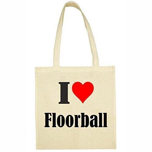 Tasche I Love Floorball Größe 38x42 Farbe Natur Druck Schwarz