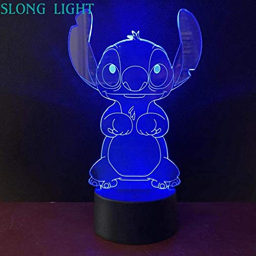 3D Illusion Lamp Led Night Light Cartoon Plush Knitted Baby Kids Decorative Stich Desk Lamp Dog Stitch Bedside