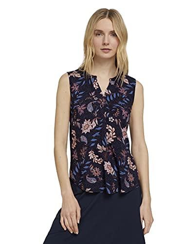 TOM TAILOR Damen 1025819 Top Bluse, 24312-Navy Floral Design, 40